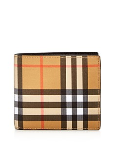 Burberry - Vintage Check Leather Bi-Fold Wallet