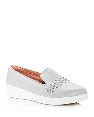 Fitflop FITFLOP WOMEN'S AUDREY PEARL STUD LEATHER PLATFORM SMOKING SLIPPERS