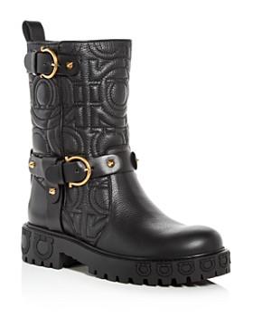 Salvatore Ferragamo - Women's Bormio Quilted Leather Moto Boots