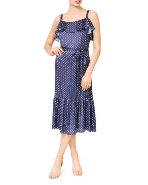 BETSEY JOHNSON Moon-Print Ruffled Midi Dress in Blue