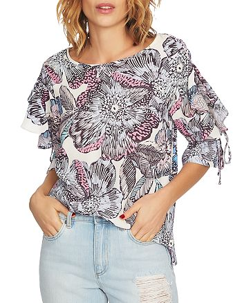 1.STATE - Ruffle-Sleeve Floral-Print Top