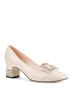 a2bcf1c6f Gucci - Women's Leather & Crystal G Mid Heel Pumps ...