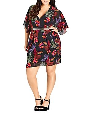 City Chic Plus Jungle Essence Floral Faux-Wrap Dress