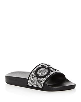 Salvatore Ferragamo - Women's Groove Studded Pool Slide Sandals