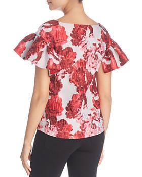 Badgley Mischka - Floral Brocade Ruffle-Sleeve Top