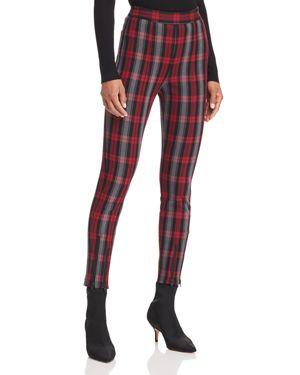 Zip-Embellished Plaid Cotton-Blend Twill Skinny Pants, Maroon Plaid