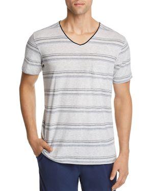 DANIEL BUCHLER Stripe Pima Cotton & Modal V-Neck T-Shirt in Black/ Blue