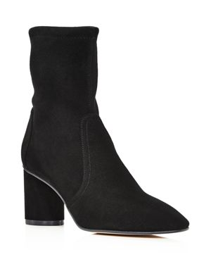Women'S Margot 75 Round Toe Suede Mid-Heel Booties, Black