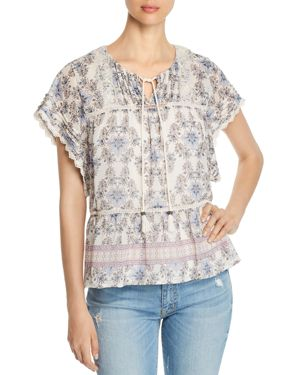 DANIEL RAINN FLORAL BORDER PRINT PEASANT TOP