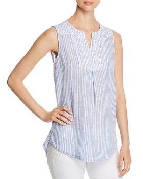 BeachLunchLounge - Embroidered Stripe Top