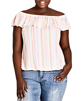 City Chic Plus - Kalua Striped Off-the-Shoulder Top
