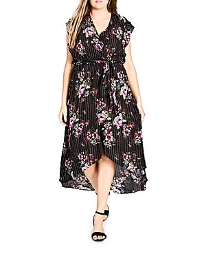 City Chic Plus Lolita Floral Pinstripe Dress
