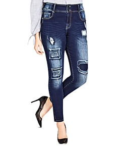 City Chic Plus - Harley Distressed Patched Skinny Jeans in Dark Indigo