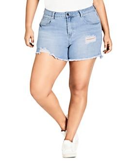City Chic Plus - Distressed Cutoff Denim Shorts in Light Denim