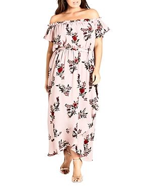 City Chic Plus Skye Floral-Print Off-the-Shoulder Maxi Dress