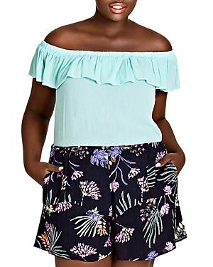 City Chic Plus Garden Floral Ruffle-Trim Shorts