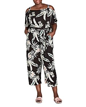 City Chic Plus Oahu Floral Cold-Shoulder Jumpsuit