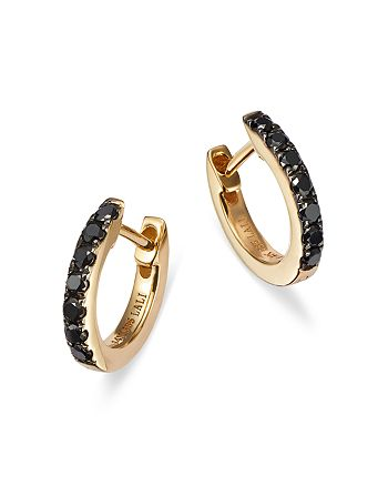 Bloomingdale's - Black Diamond Huggie Hoop Earrings in 14K Yellow Gold, 0.20 ct. t.w. - 100% Exclusive