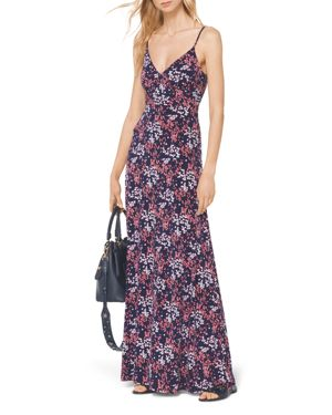 Michael Michael Kors Bloom Print Maxi Dress In True Navy Bright Blush