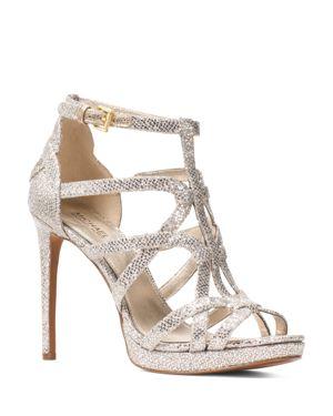 Women'S Sandra Strappy Leather Platform High-Heel Sandals, Champagne Glitter Fabric