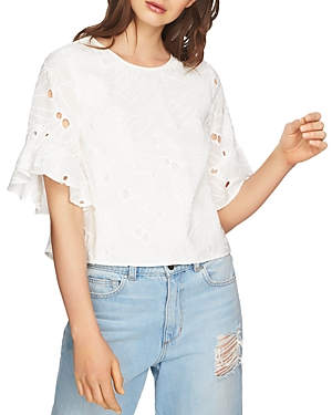 1.state Embroidered Ruffle-Sleeve Top