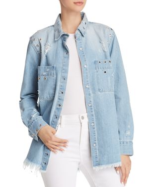 PISTOLA KENZIE GROMMET DENIM SHIRT JACKET