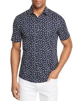 Michael Kors - Leaf-Print Short-Sleeve Trim Fit Shirt - 100% Exclusive
