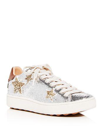 80d52f423b COACH Women's C1010 Star Glitter Lace Up Platform Sneakers ...