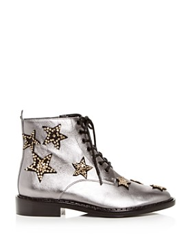 COACH - Women's Watts Star-Embellished Leather Booties