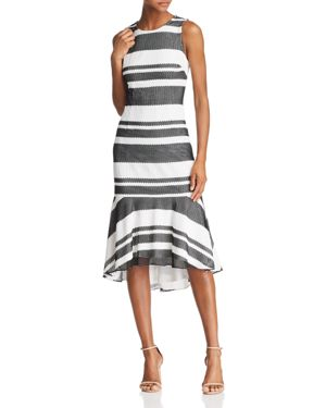 ADRIANNA PAPELL Sleeveless Stripe Trumpet Sheath Dress, Black/ Ivory