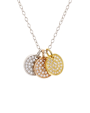 Pave Tricolor Disc Pendant Necklace in Platinum-Plated Sterling Silver