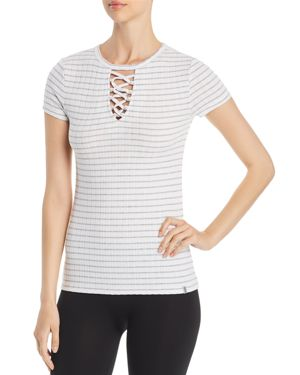 MARC NEW YORK PERFORMANCE STRIPED LACE-UP TEE
