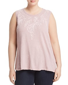Lucky Brand Plus - Tonal-Embroidered Tank