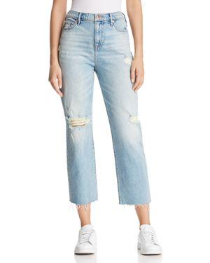 True Religion Starr High Rise Crop Straight Jeans in Indigo Erosion 2904530