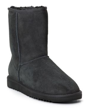 UGG CLASSIC SHORT SUEDE BOOTS, BLACK