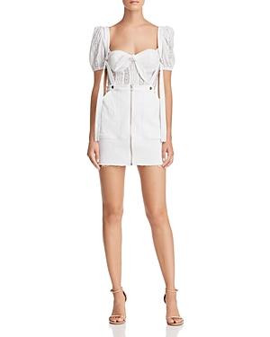 988185144c For Love   Lemons Monika Overalls Mini Skirt In White Denim