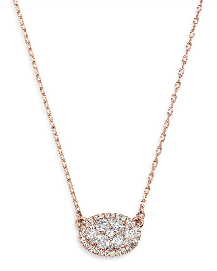 Bloomingdale's Diamond Oval Pendant Necklace In 14K Rose Gold, 0.50 Ct. T.W. - 100% Exclusive In White/Rose Gold