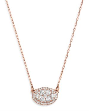 DIAMOND OVAL PENDANT NECKLACE IN 14K ROSE GOLD, 0.50 CT. T.W. - 100% EXCLUSIVE