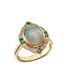 Bloomingdale's - Ethiopian Opal, Emerald & Diamond Cocktail Ring in 14K Yellow Gold - 100% Exclusive