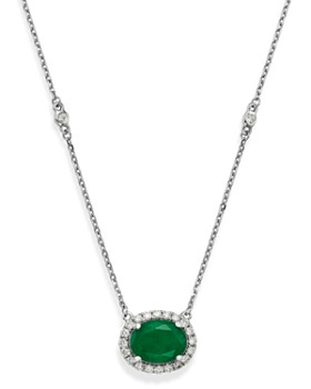 """Bloomingdale's - Emerald Oval & Diamond Pendant Necklace in 14K White Gold, 18"""" - 100% Exclusive"""