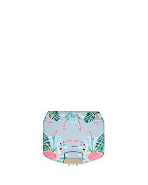 Furla My Play Interchangeable Metropolis Mini Flamingo Print Leather Flap