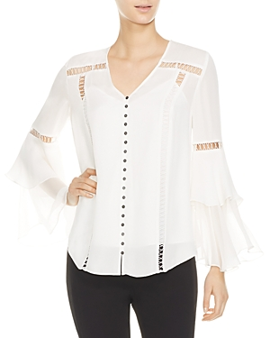 Haute Hippie GOLDEN HOUR OPENWORK-INSET SILK TOP
