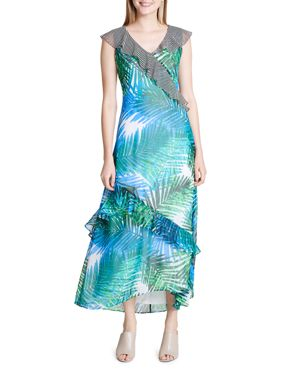Calvin Klein Printed Ruffle Maxi Dress 2969503