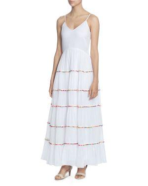 Sleeveless V-Neck Tiered Cotton Maxi Dress W/ Multicolor Pompom Trim, Bright White/ Multi