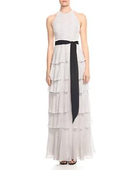 HALSTON HERITAGE - Tiered Printed Sash-Detail Gown
