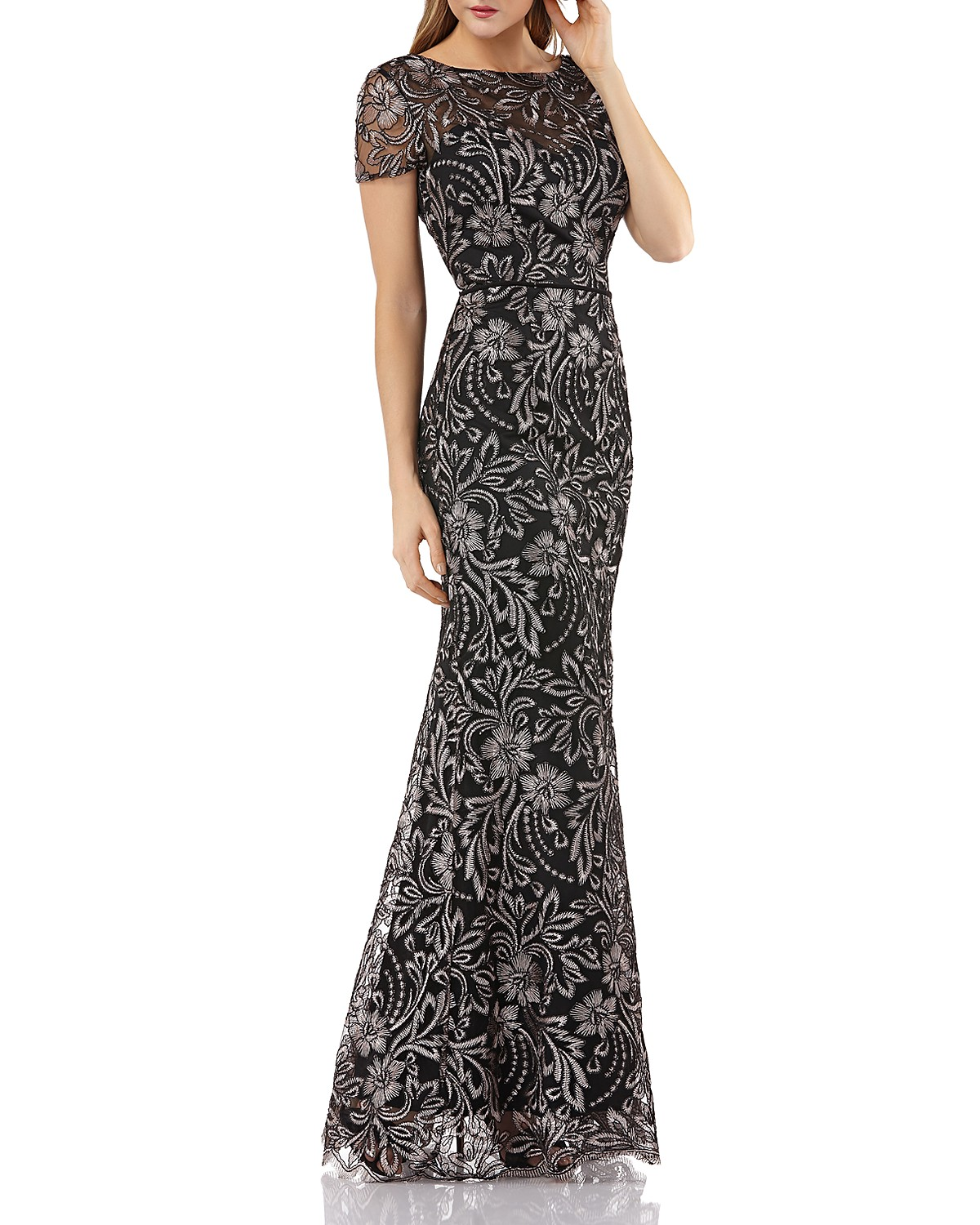 JS Collections Embroidered Mermaid Gown | Bloomingdale\'s