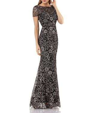 JS COLLECTIONS Embroidered Trumpet Gown in Salmon Black