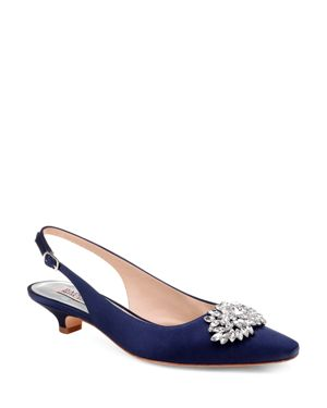 WOMEN'S PAGE EMBELLISHED SATIN SLINGBACK KITTEN HEEL PUMPS