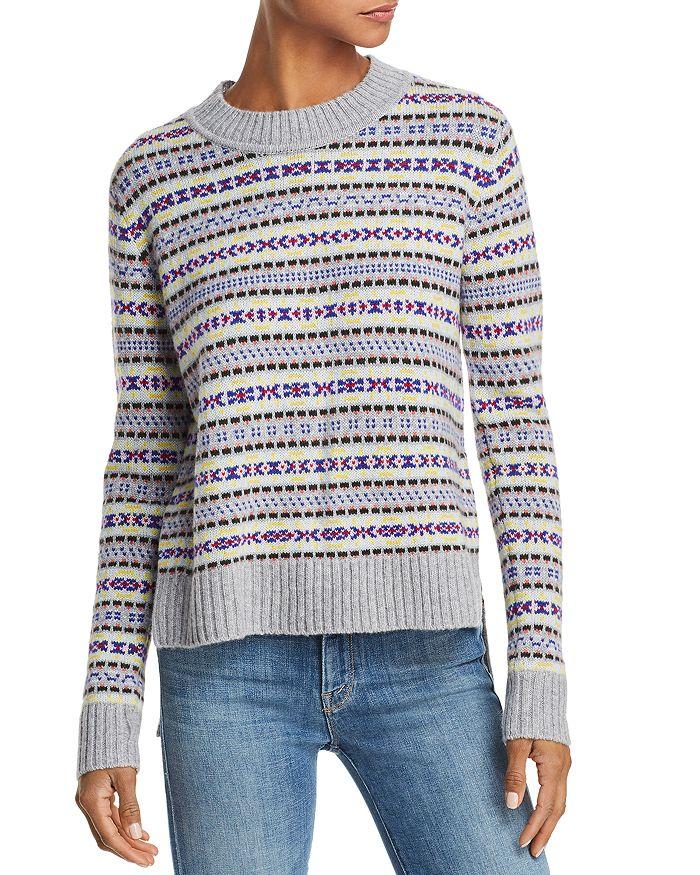AQUA - Fair Isle High/Low Cashmere Sweater - 100% Exclusive