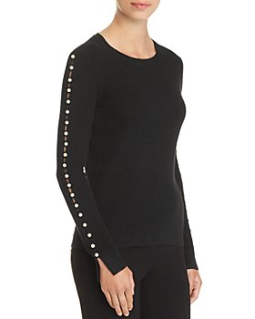 C by Bloomingdale's - Embellished Pearl Sleeve Cashmere Crew Neck Sweater - 100% Exclusive
